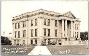 Sidney, Nebraska RPPC Real Photo Postcard CHEYENNE COUNTY COURT HOUSE c1920s