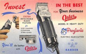 Oster Barber Electric Hair Cutter Detachable Blades Curt Teich Postcard