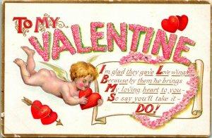 Vtg Carte Postale C.1908 Victorien en Relief Valentin Carte Avec Cupidon & Poème
