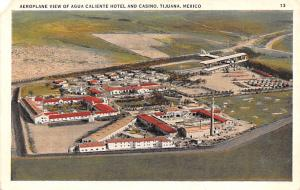 Mexico Old Vintage Antique Post Card Aeroplane view of Agua Caliente Hotel an...