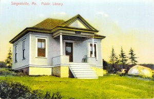 Sargentville Maine Public Library Unposted Divided Back Made in Germany Postcard