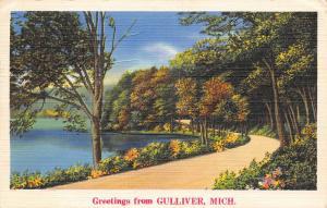 Gulliver Michigan~Country Drive Around the Lake~1938 Linen Postcard