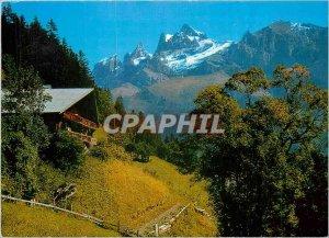 Postcard Modern Landscape has Champery Valais Les Dents du Midi