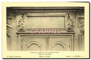 Old Postcard Louis XIV Louis XV Oak Paneled Room Detail of Cupboard