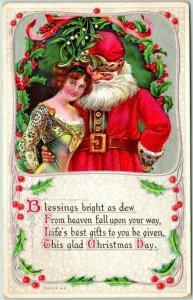 1910s CHRISTMAS Postcard Kinda Creepy SANTA CLAUS w/ Pretty Lady - Series 412