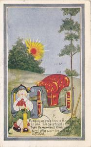 Pumping a tire to a convertible automobile on a sunny day, PU-1909