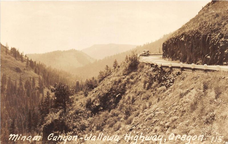 Minam Canyon-Wallowa Highway Oregon~Classic 30s Car on Road~RPPC-Postcard
