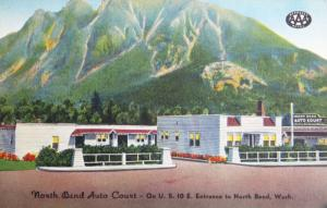 North Bend Auto Court North Bend Washington WA AAA Vintage Linen Postcard D33
