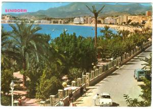 Spain, BENIDORM, Southern Beach, with Renault Dauphine, 1960s, used Postcard