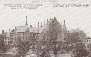 CINCINNATI, Ohio, 1910; Springer Music Hall & Washington Park, O.V.I. Exposition