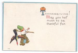 Bergman Dutch Boy Arts and Crafts Style Vintage Thanksgiving Postcard Embossed