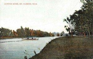 Clinton River, Mt. Clemens, Michigan ca 1910s Vintage Postcard