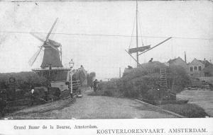 Amsterdam Netherlands Kostverlorenvaart Grand Bazar Windmills Postcard K69196
