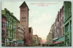 Los Angeles CA~Broadway Looking South~City Hall~Cafe Kerkow~Trolley~1908