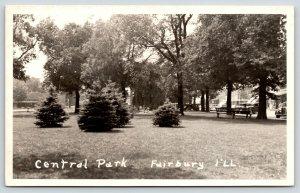 Fairbury Illinois~Central Park~Cars Line Square~Stores~1935 Ford~c1950 RPPC