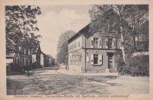 REINHEIM (Hessen) , Darmstadter-Strasse mit Gasthaus Schloss Lichtenberg , ...