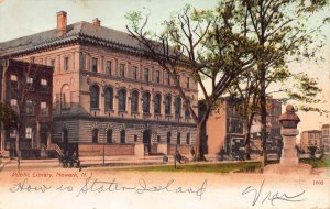 Public Library, Newark, New Jersey, Early Postcard, Used in 1907
