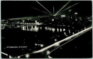 Pittsburgh, Pennsylvania Postcard PITTSBURGH AT NIGHT Bird's-Eye Panorama