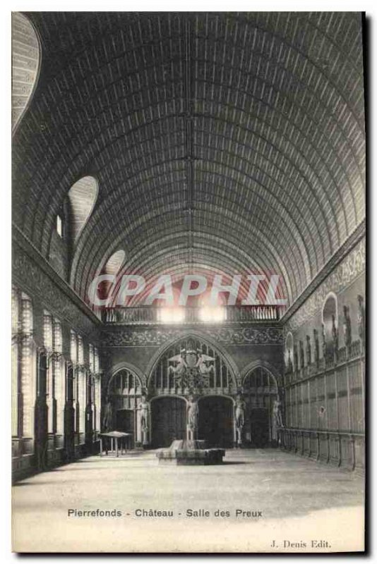 Old Postcard Pierrefonds Chateau Preux Hall