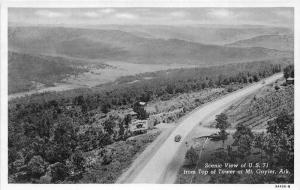 Mt Gayler Arkansas~Car Passing Billboard on Highway 71~View from Tower~1939 PC