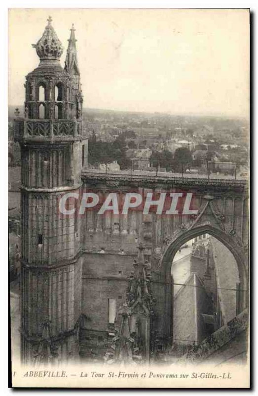 Postcard Old Abbeville St Firmin Tower and panorama of St Gilles