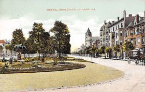 Chicago Illinois~Drexel Boulevard Town Houses~Garden Flowers~Hansom Cab~1908