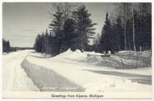 RP  Snow Scene, Alpena, Michigan, PU-1948