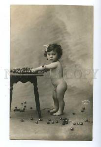127354 Nude Baby BOY w/ Cherry Vintage PHOTO Varischi ArticoPC