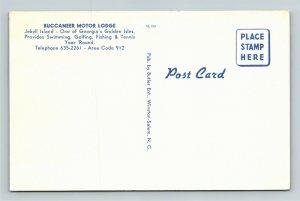 Jekyll Island GA- Georgia, Buccaneer Motor Lodge Advert Vintage Chrome Postcard