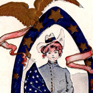 1907 Centennial of the Oranges NJ Cowgirl American flag eagle undivided back