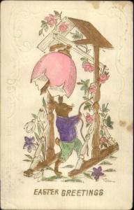 Easter Fantasy - Rabbit Ringing Egg Bell Gilt Finish c1910 Postcard