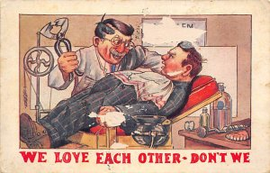 Man in the Dental Chair Having His Tooth Pulled Cartoon Occupation, Dentist 1...