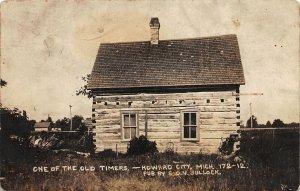F52/ Howard City Michigan RPPC Postcard c1910 Hewn Log Cabin Bullock