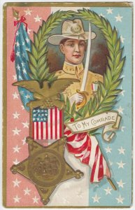 To My Comrade Portrait of Soldier, Olive Leaf Headdress, American Flag, PU1911