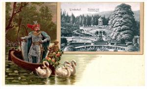 Gebuder Metz  Linderhof , Knight in boat pulled by Swans