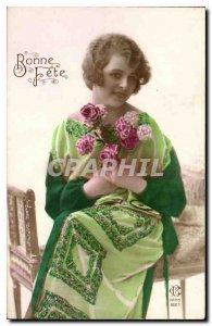 Postcard Bonne Fete Old Woman