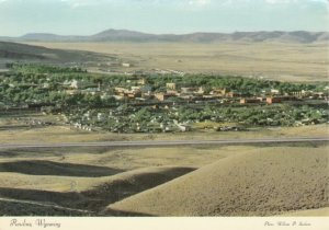 RAWLINS, Wyoming, 1980s; Panoramic view of Rawlins, Lincoln Highway US 30 & I 80