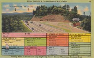 Humour Busy Persons Correspondence Card Parking Area Newfound Gap Highway