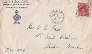 Brockville Ontario Officers Training Centre 1943 Military WW2 Post Office Cover