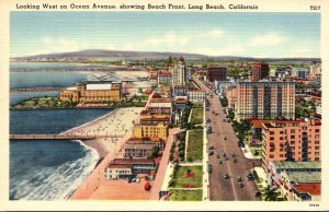 California Long Beach Looking West On Ocean Avenue Showing Beach Front