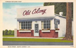 North Conway New Hampshire Main Street Old Colony Restaurant Postcard J78172