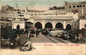 CPA Tanger Custom house and battery MAROC (720070)
