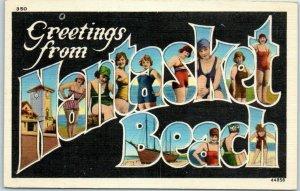 c1920s NANTASKET BEACH Massachusetts Large Letter Postcard Bathing Beauty Girls
