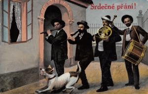 Czech Greeting~Srdečné Přání~4 Man Band & Barking Dog at Door~1910 Postcard