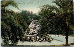 Tampa, Florida Postcard CITY PARK, Center Fountain Leighton c1910s Unused