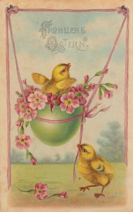 EASTER chicks , 1900-10s ; Playing w/Green Egg SWING