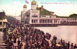 New Jersey Atlantic City Boardwalk Scene 1910