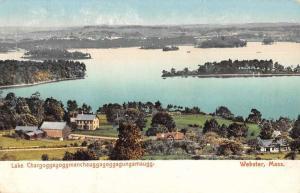 Webster Massachusetts Lake Chaubunagungamaug Antique Postcard KA688754