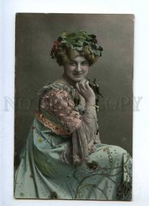 187044 Charming Woman NYMPH Vintage TINTED postcard