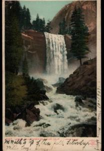 Merced CA to San Francisco Vernal Falls Yosemite Detroit Vintage Postcard B05